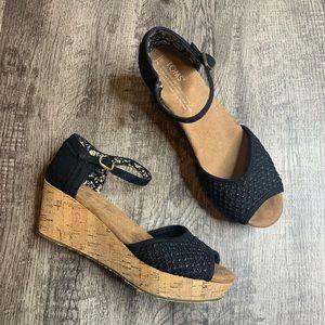 TOMS | Black Knit Open Toe Ankle Strap Cork Wedges